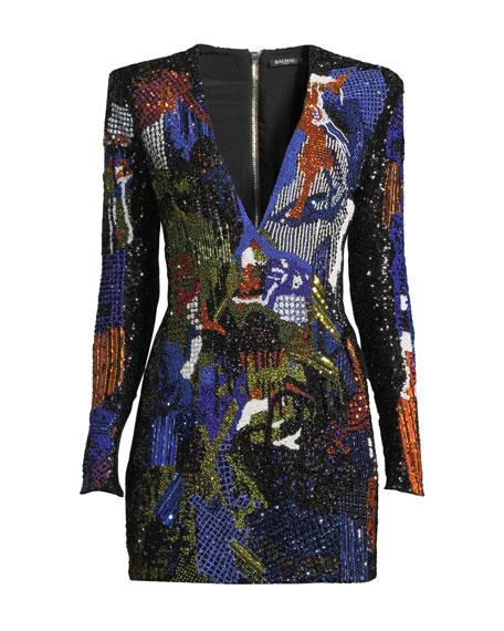 Deep-V Long-Sleeve Graffiti-Embellished Mini Cocktail Dress