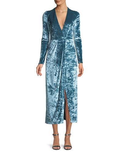Long-Sleeve Deep-V Hammered Stretch-Velvet Cocktail Dress