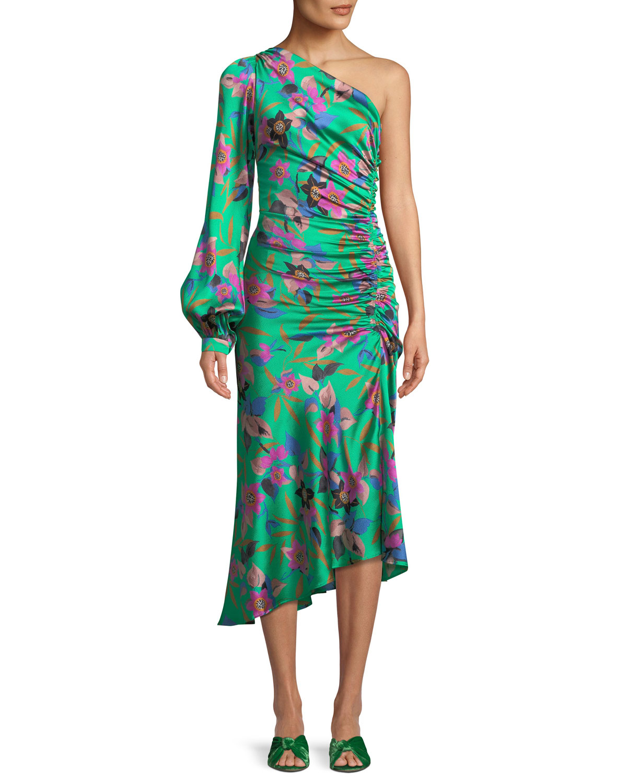 3da9d0d976 Etro One-Sleeve Shirred Floral-Print Hammered Silk Midi Dress ...