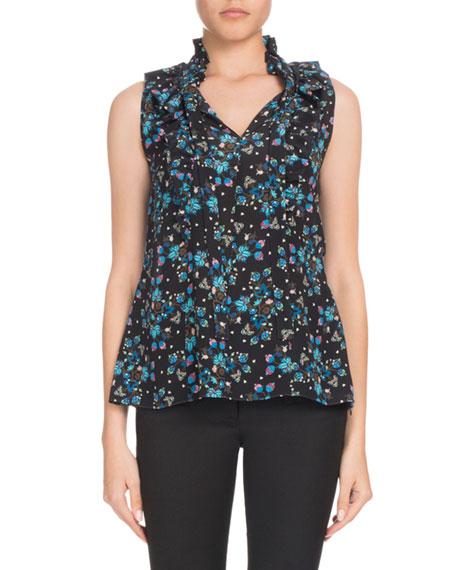 Altuzarra Choukri Sleeveless Floral Vine-Print Ruffled Silk Tunic