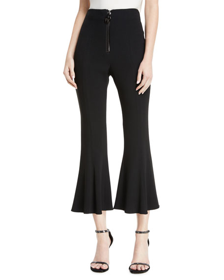 CUSHNIE High-Waist Cropped Flare Pants w/ Dual Zip