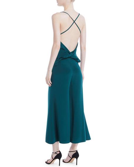 Halter-Neck Sleeveless Drape-Back Wide-Leg Silk Jumpsuit