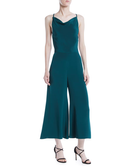 Cushnie Et Ochs Halter-Neck Sleeveless Drape-Back Wide-Leg Silk