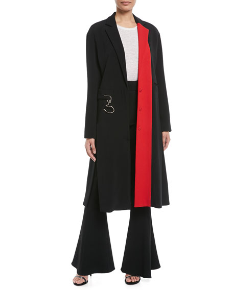 High-Waist Flared-Leg Pants with D-Ring Buckle