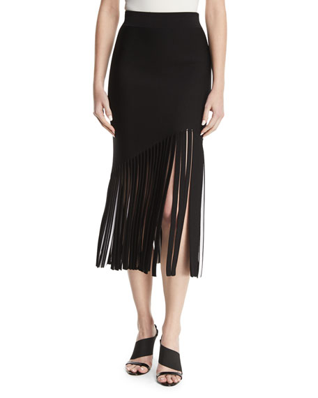 CUSHNIE High-Waist Fitted Crepe Midi Skirt with Fringed Hem
