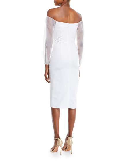 Image 2 of 2: Off-the-Shoulder Organza-Sleeve Fitted Midi Cocktail Dress
