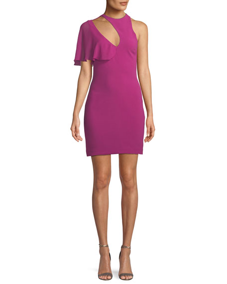 Cushnie Et Ochs Cutout-Neck Fitted Stretch-Cady Cocktail Dress