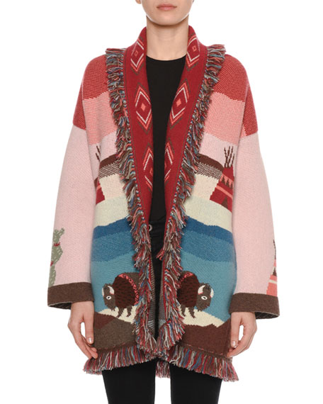 Alanui Lunar Phases Jacquard Open-Front Cashmere Cardigan with