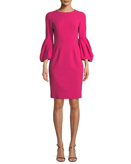 Carolina Herrera Draped Elbow-Sleeve Dress