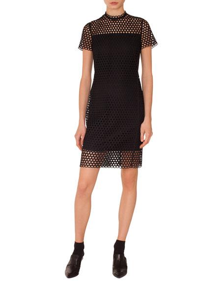 Circle Lace Stand-Collar Short-Sleeve Sheath Dress