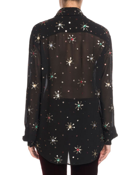 Image 2 of 2: Multicolor Starburst-Embellishment Button-Down Long-Sleeve Silk Blouse