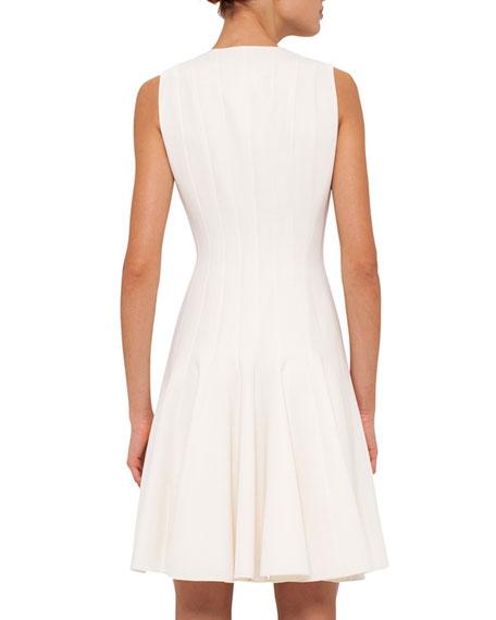 Sleeveless Zip-Front Seamed A-Line Cotton Dress