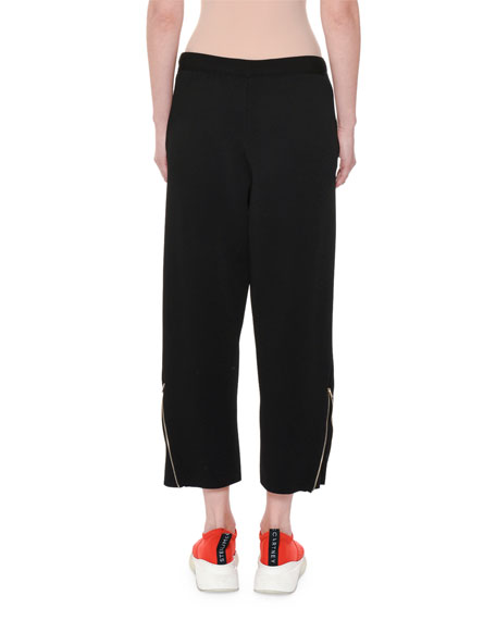 Heavy Viscose Cropped Wide-Leg Pull-On Pants