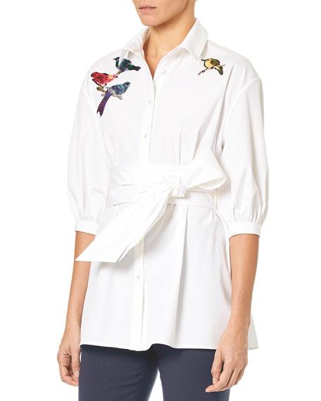 Button-Down Poplin Tunic Blouse w/ Self-Tie Belt & Bird Embroidery