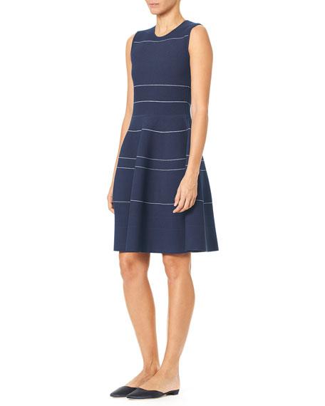 Sleeveless Mini-Striped Knee-Length Knit Dress
