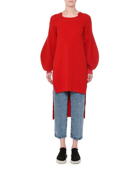 High-Low Balloon-Sleeve Ribbed Wool Tunic Sweater