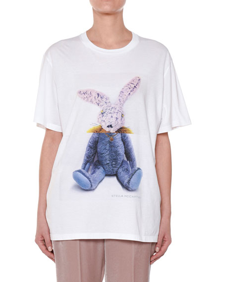Stella McCartney Stuffed-Animal Bunny Cotton T-Shirt