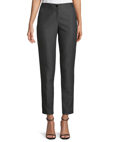 Image 1 of 3: Micro Diamond-Jacquard Straight-Leg Pants