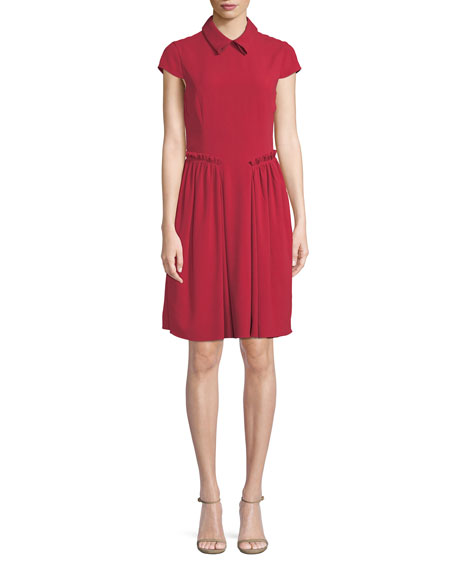 Emporio Armani Cap-Sleeve Collared A-Line Dress w/ Ruffled