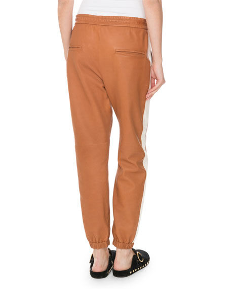 Isabel Marant Coy Drawstring Leather Jogger Pants