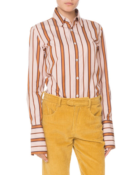 Uliana Button-Front Long-Sleeve Striped Blouse