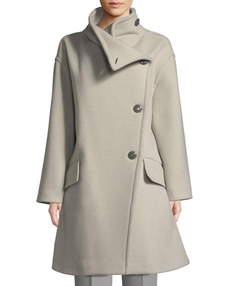 High-Collar Wool Drama Coat