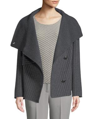2e6668a76 Emporio Armani Button-Front Pinstripe Wool Caban Coat