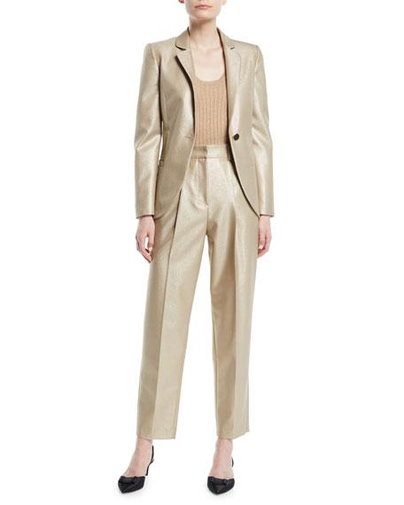 High-Waist Straight-Leg Metallic-Wool Pants