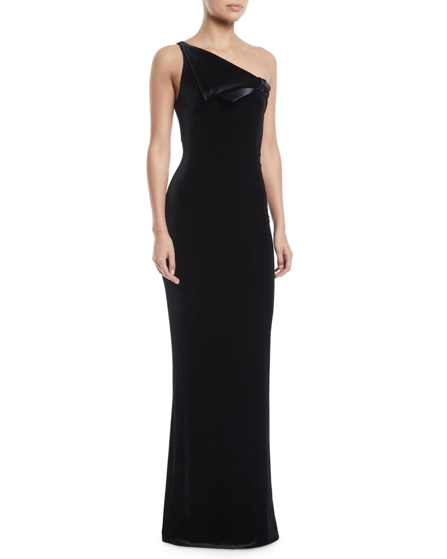 57214a91189 Emporio Armani One-Shoulder Velvet Jersey Column Evening Gown w  Satin Trim