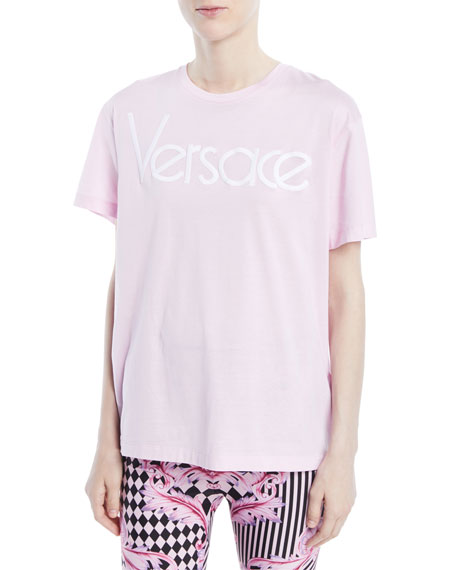 Versace Crewneck Short-Sleeve T-Shirt w/ Logo and Matching