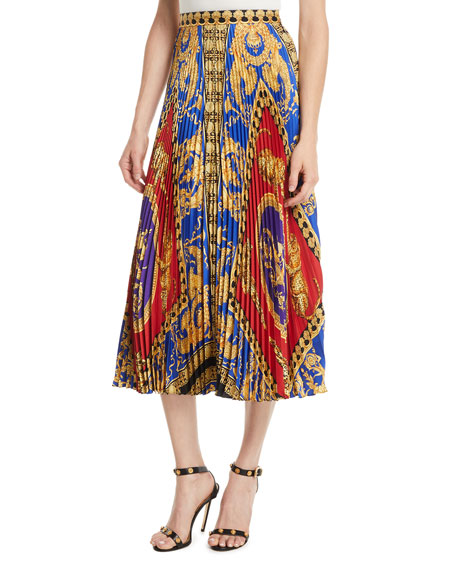 Versace Pillow Talk Archive Print Pleated Midi Skirt