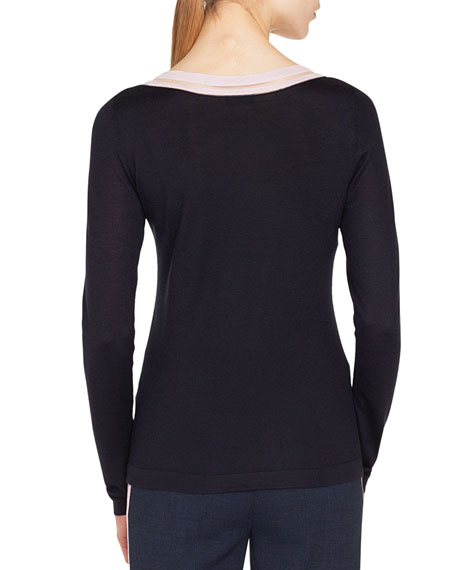 Striped-Trim Round-Neck Long-Sleeve Cashmere-Silk Top