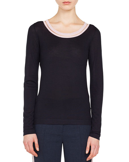 Akris Striped-Trim Round-Neck Long-Sleeve Cashmere-Silk Top and
