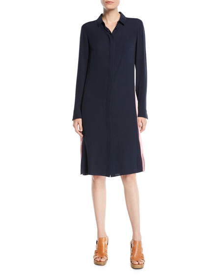 Akris Long-Sleeve Button-Front Racing-Stripe Wool Shirtdress w/