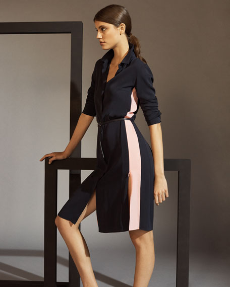 Long-Sleeve Button-Front Racing-Stripe Wool Shirtdress w/ Zip Slits