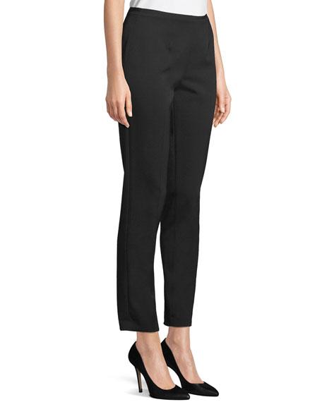 Michael Kors Collection Side-Zip Stretch-Pebble Crepe Narrow-Leg Pants
