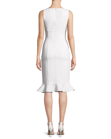 Scoop-Neck Sleeveless Fitted Stretch-Boucle Dress w/ Ruffle Hem