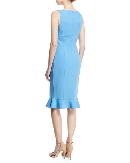 Ruffle-Hem Wool Crepe Sheath Dress