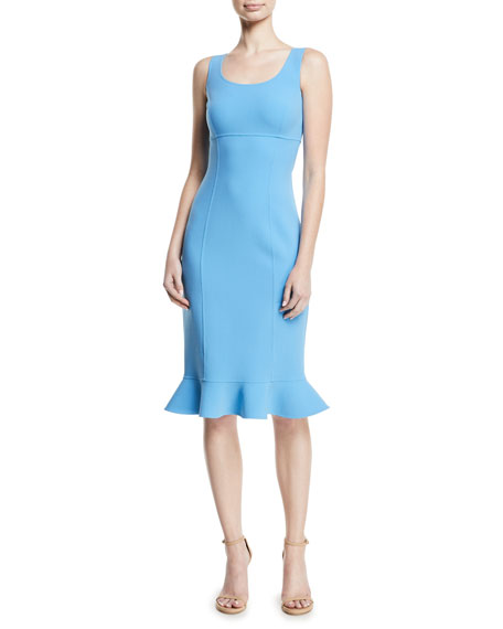 MICHAEL KORS Ruffle-Hem Wool Crepe Sheath Dress in Light Blue