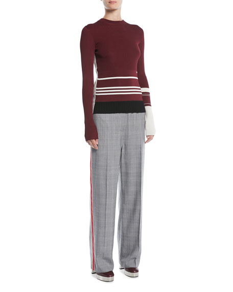 Wide-Leg Check Wool Pull-On Pants w/ Side Stripe
