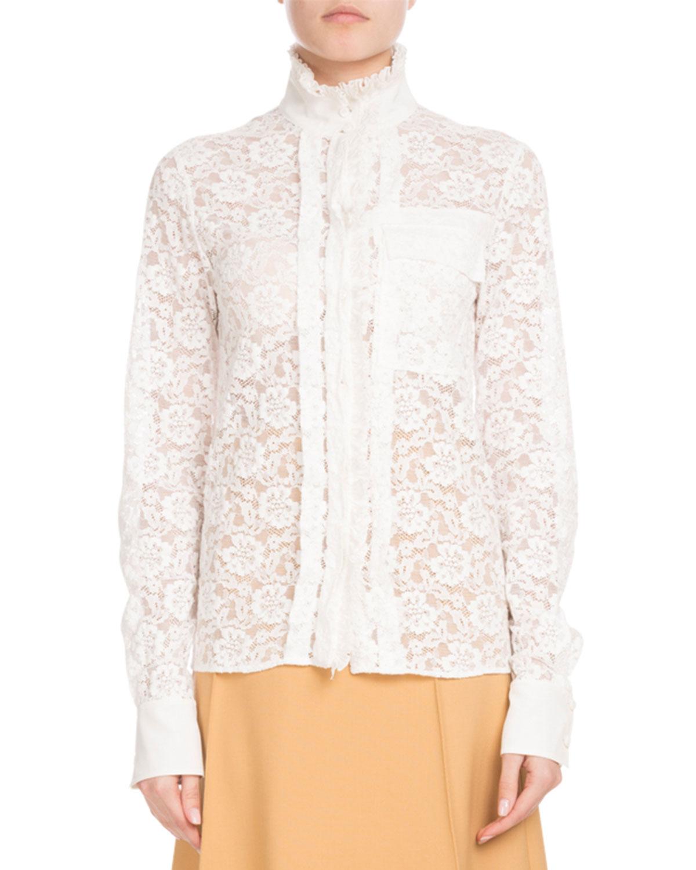 0c757bf9229b0d Chloe Long-Sleeve Mock-Neck Button-Front Floral-Lace Blouse   Neiman ...