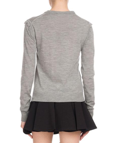 Scallop-Shoulder Crewneck Sweater