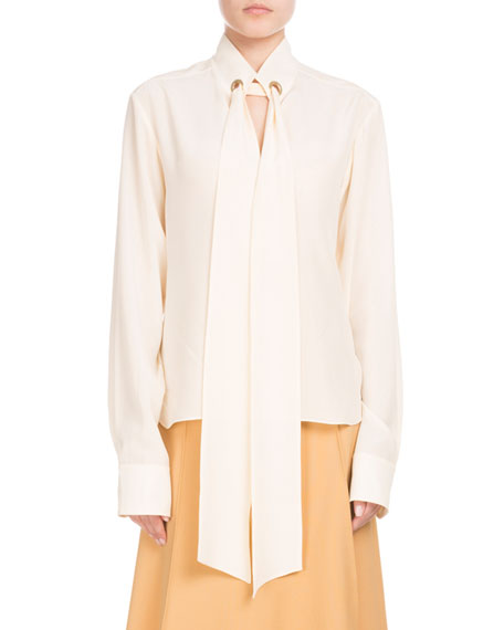 Chloe Long-Sleeve Open-Neck Silk Crepe de Chine Blouse w/ Ring Scarf