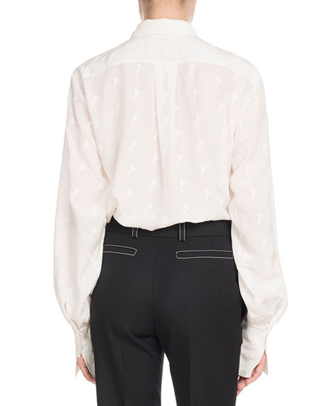 Chloe Long-Sleeve Button-Front Tonal Horse-Print Silk Crepe de Chine Blouse