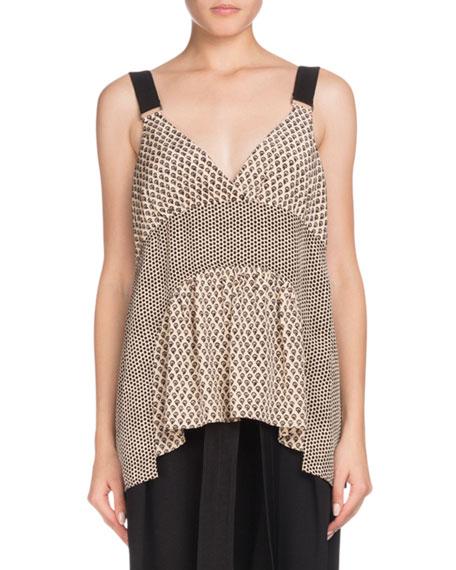 V-Neck Sleeveless Mixed-Print Silk Blouse