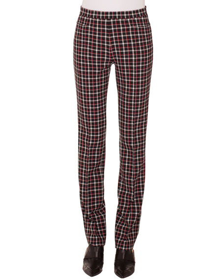 Francoise Straight-Leg Side-Zip Glen Check Pants