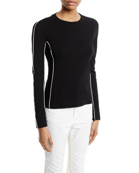 Reverse-Seam Crewneck Long-Sleeve Cotton Rib Jersey Top