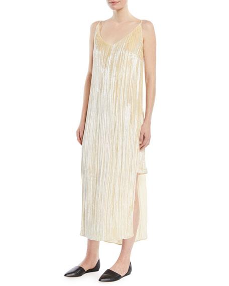V-Neck Sleeveless Slit-Sides Distressed Velvet Slip Cocktail Dress