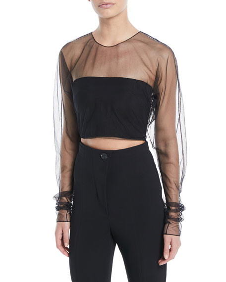 Long-Sleeve Sheer Tulle Cropped Top