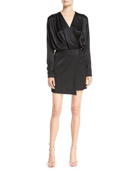 CUSHNIE Long-Sleeve Blouson-Top Double-Charmeuse Mini Cocktail Dress